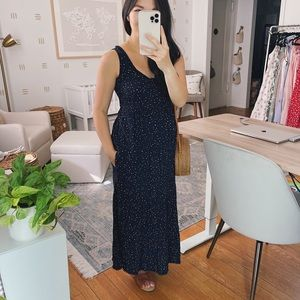 Navy spotted maxi dress with pockets